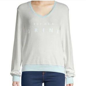 Wildfox V-Neck Sweatshirt 'Buy Me A Drink' NWT